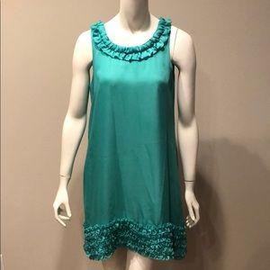 Forever 21 Sleeveless Green Ruffle Dress: M